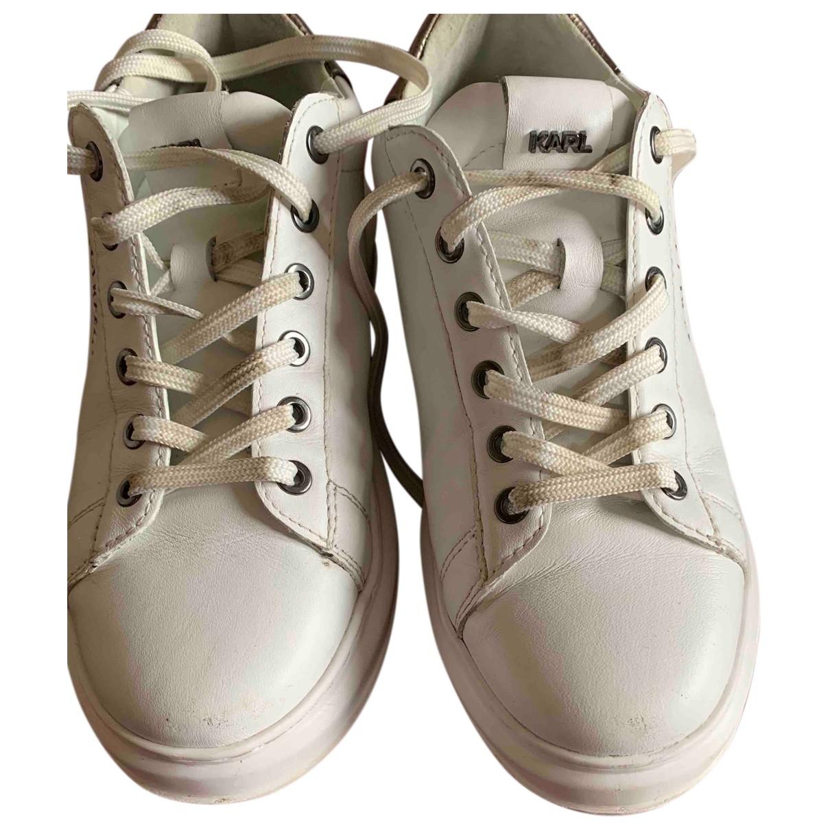 Karl Lagerfeld - Baskets   pour femme en cuir - blanc