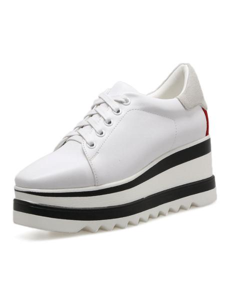 Milanoo Black Casual Shoes Women Square Toe Lace Up Platform Sneakers Oxford Shoes