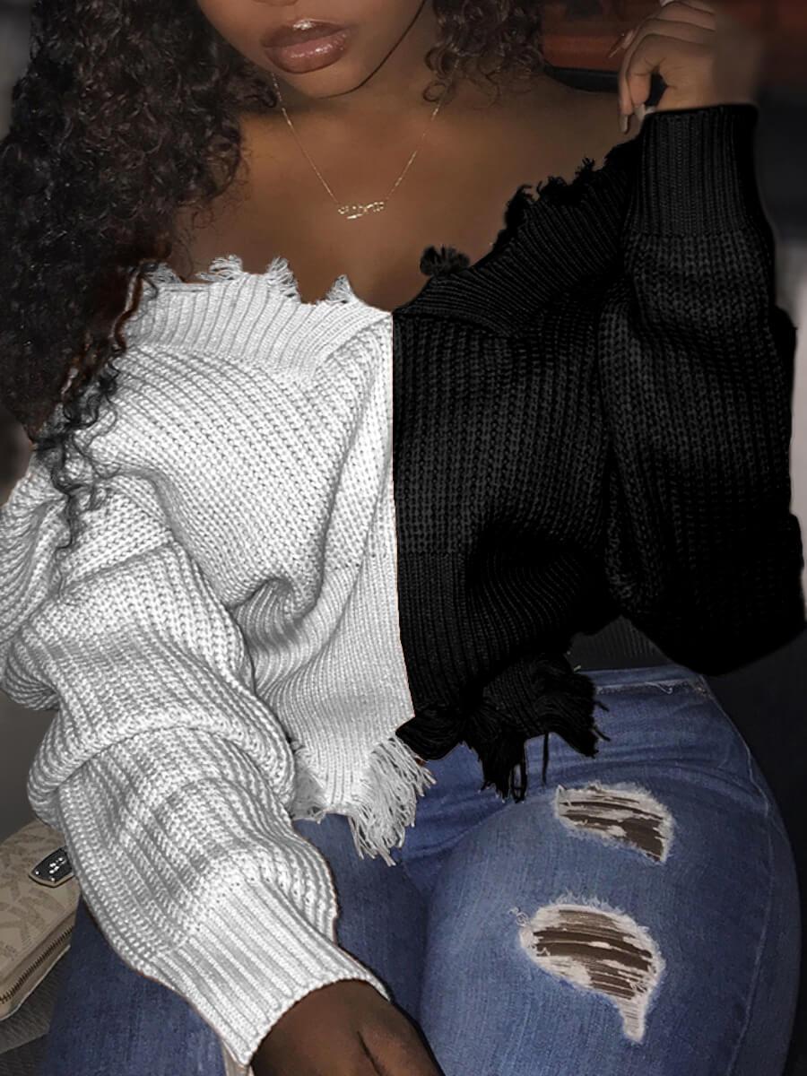 LW Lovely Street V Neck Patchwork White Sweater