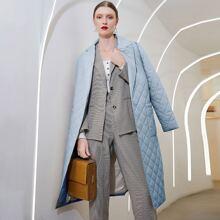 Puffer Mantel mit offener Vorderseite, Taschen Flicken und Guertel