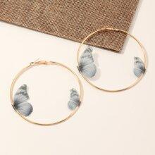 Butterfly Decor Hoop Earrings