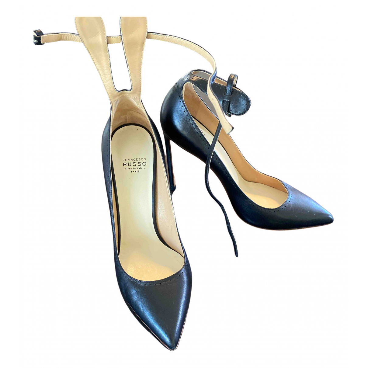 Francesco Russo N Black Leather Heels for Women 38.5 EU