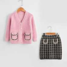 Toddler Girls Flap Pocket Pearls Button Cardigan & Plaid Knit Skirt