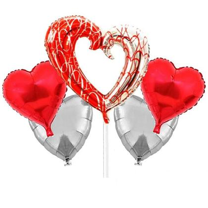 Valentines 5-pack Heart Shaped Foil Balloons Bouquet Kit
