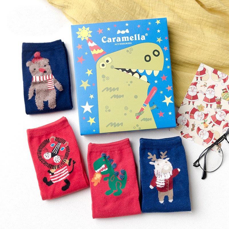 Cartoon Animals Christmas Gift Ankle Socks for Adult 4 Packs
