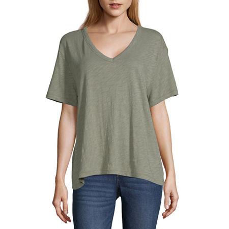 Arizona Womens V Neck Short Sleeve T-Shirt - Juniors, X-large , Blue