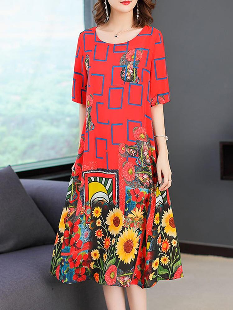 Women Short Sleeve O-neck Floral Print Dress