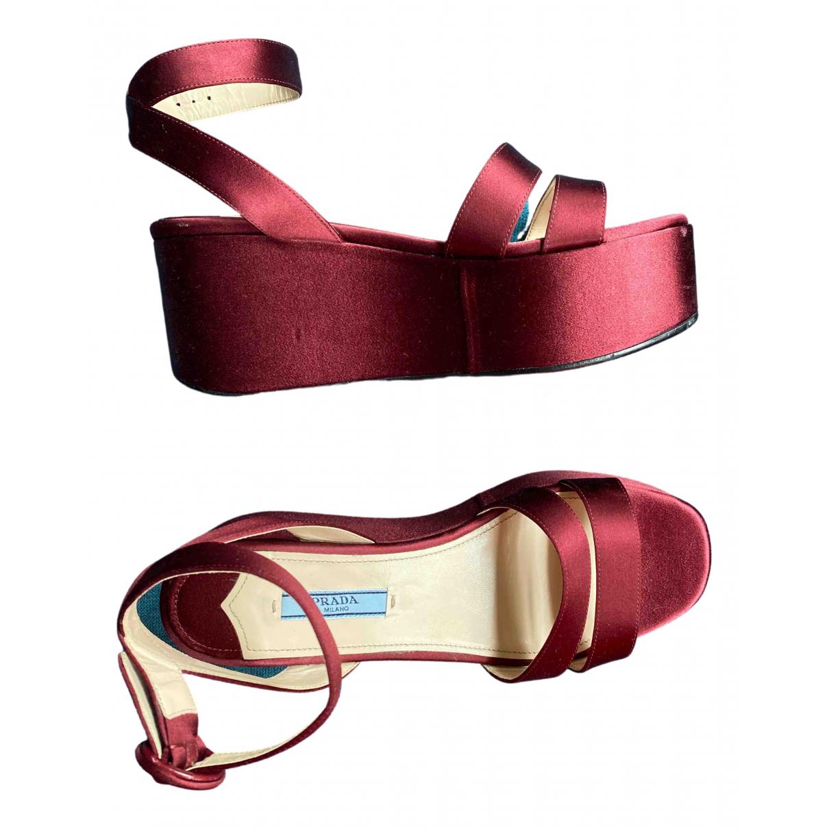 Prada \N Burgundy Cloth Sandals for Women 37 EU