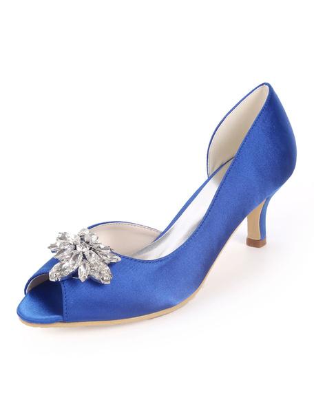 Milanoo Satin Wedding Shoes Ink Blue Peep Toe Rhinestones Mother Shoes Kitten Heel Wedding Guest Shoes
