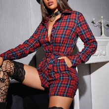 Tartan Button Front Belted Shirt Romper