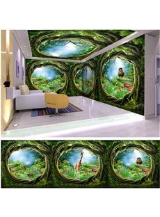 Fancy Animal in the Forest Timbo Pattern Combined Waterproof 3D Ceiling and Wall Murals