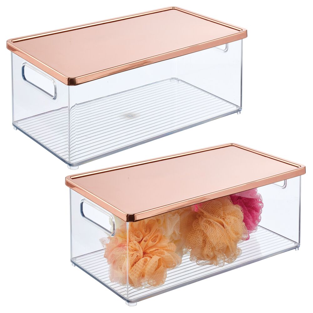 Plastic Bathroom Storage Bin with Steel Lid in Clear/Rose Gold, 15