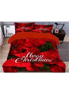 Christmas Decorations Duvet Cover Set 4-Piece Polyester 3D Christmas Bedding Sets/Duvet Covers