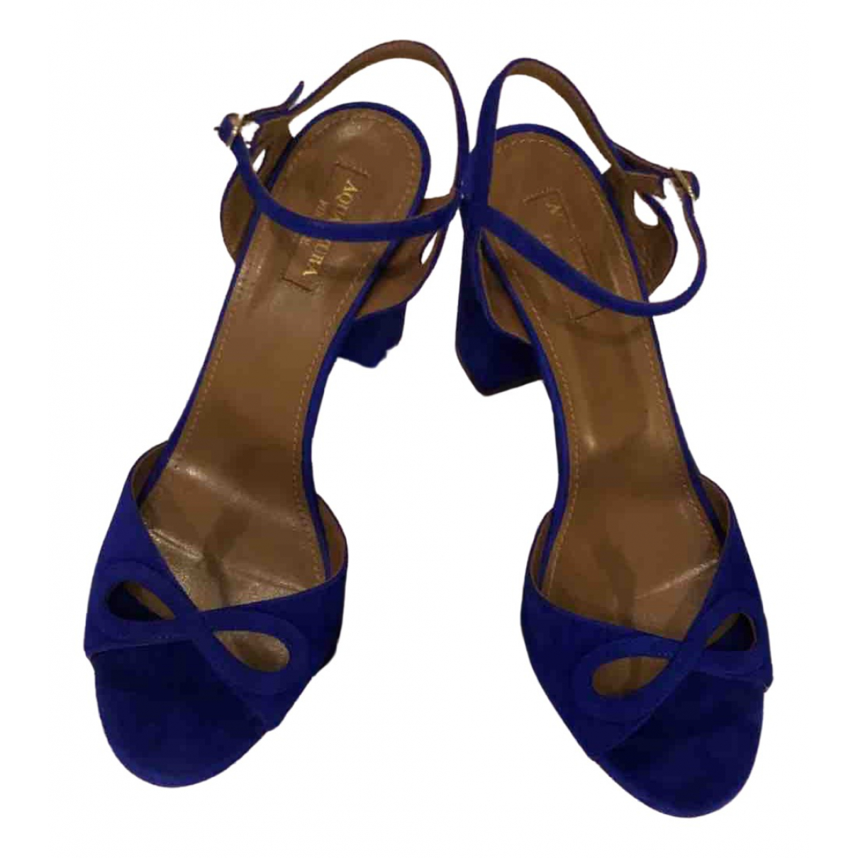 Aquazzura - Sandales   pour femme en velours - bleu