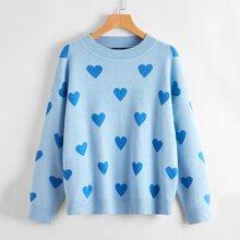Drop Shoulder Heart Sweater