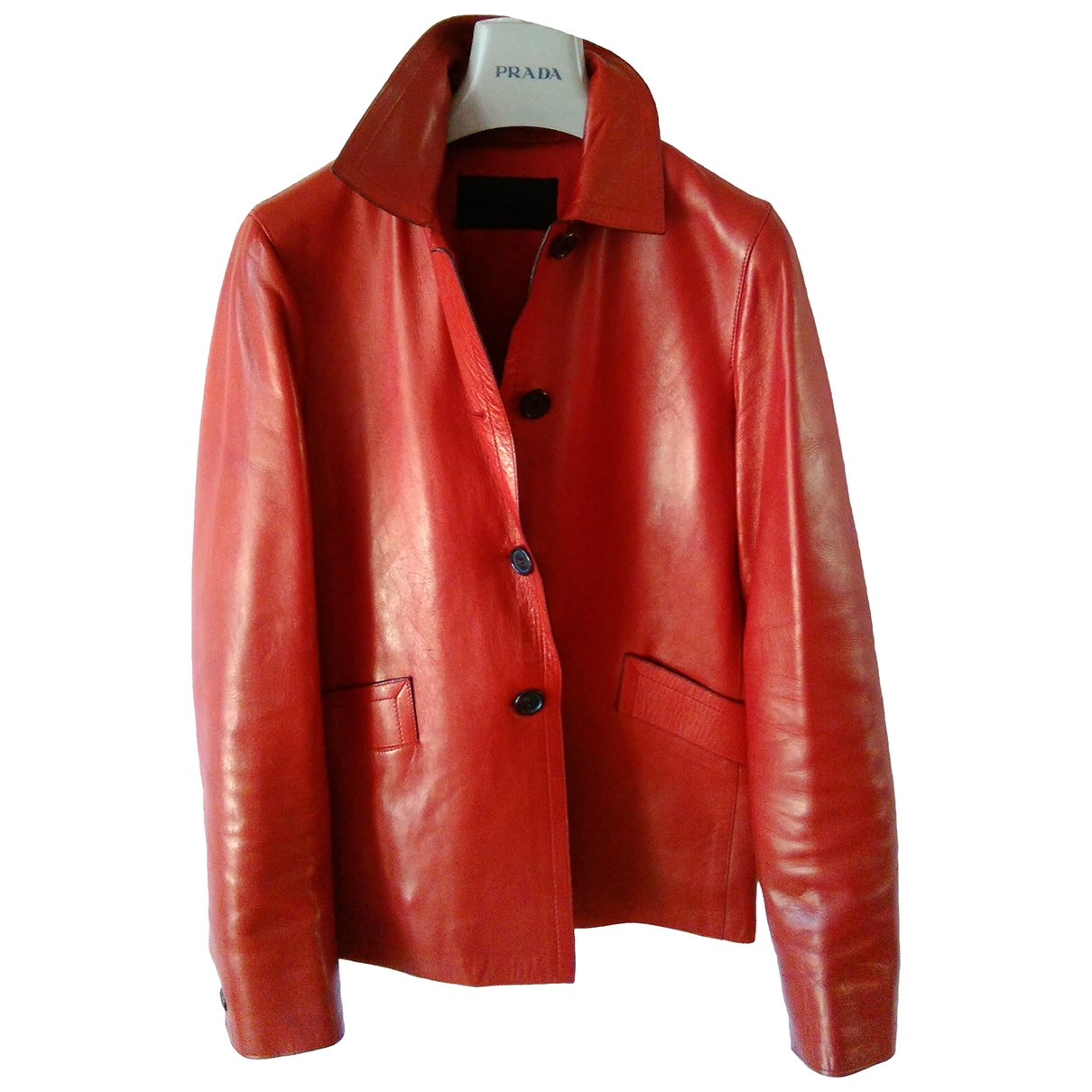 Prada \N Red Leather Leather jacket for Women 40 IT