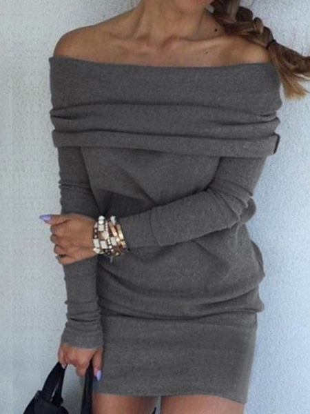 Yoins Grey Off-shoulder Wide Over-layer Dress