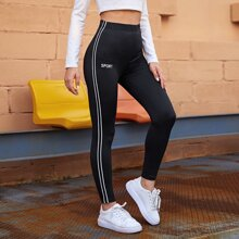 Side Striped Letter Graphic Leggings