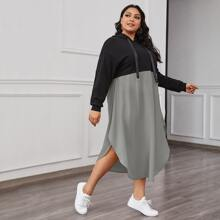 Plus Two Tone Curved Hem Tape Hooded Sweatshirt Dress
