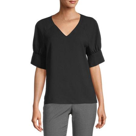 Worthington Womens V Neck Short Sleeve Blouse, X-small , Black