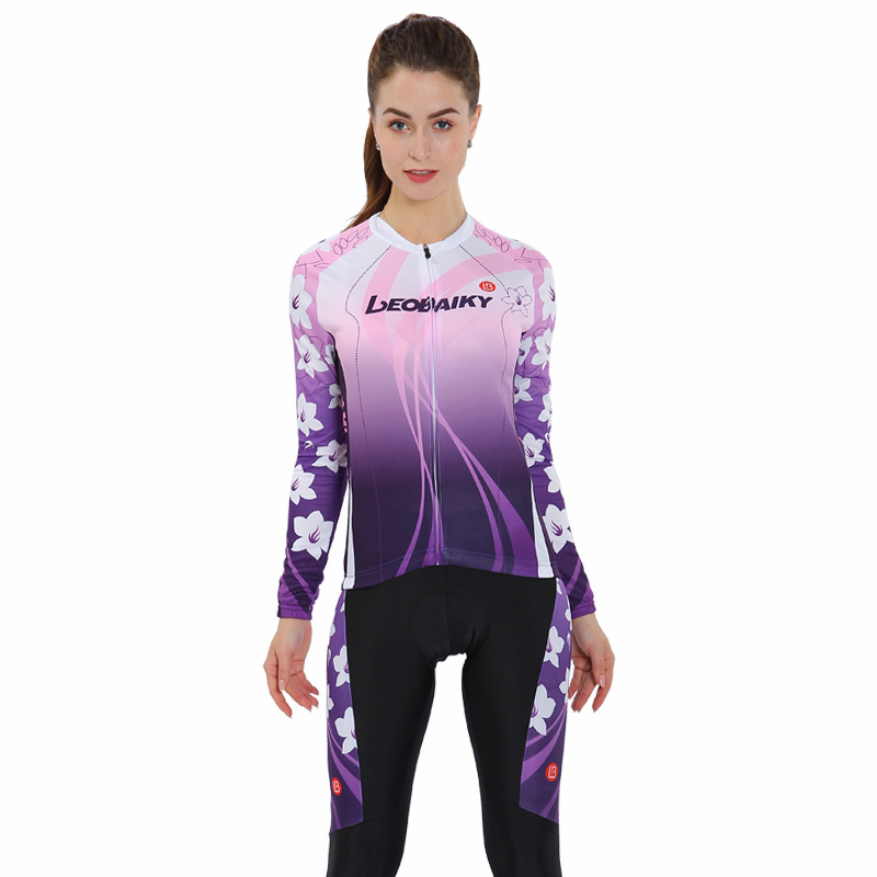 Purple Flower 3D Padded Pants Road Bike Comfortable Women's Cycling Jersey