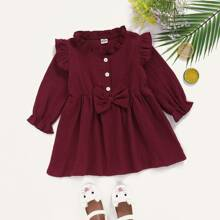 Baby Girl Textured Bow Front Frill Trim Dress