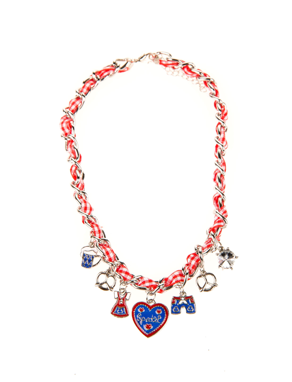 Halskette Spatzl rot/weiss