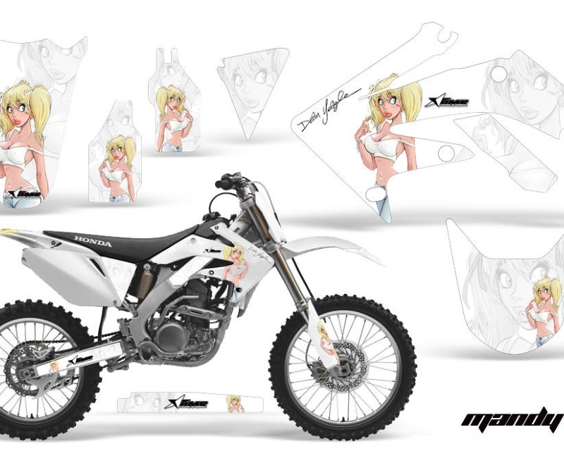 AMR Racing Dirt Bike Graphics Kit Decal Sticker Wrap For Honda CRF250R 2004-2009áMANDY WHITE