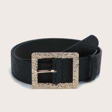 Textured Metal Buckle Belt