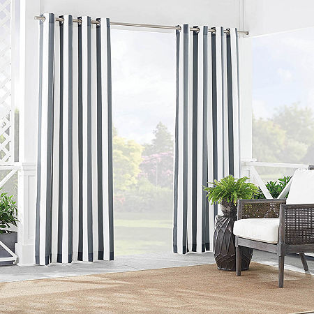 Waverly Solstice Stripe Light-Filtering Grommet-Top Single Curtain Panel, One Size , Gray