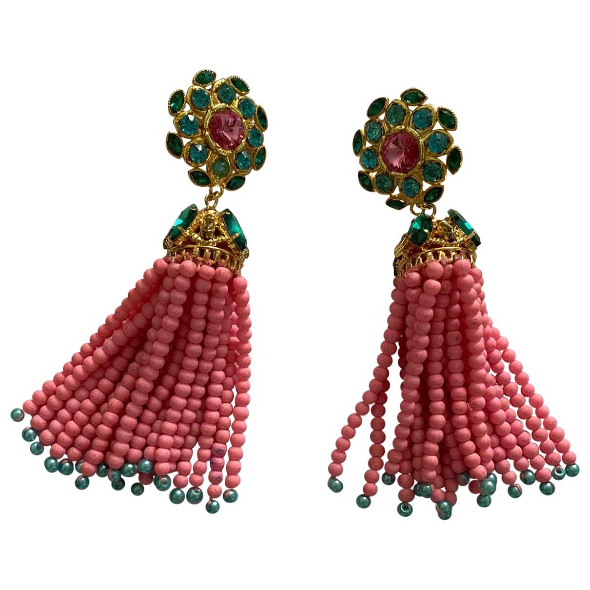 - Boucles doreilles Motifs Ethniques pour femme en cristal - rose