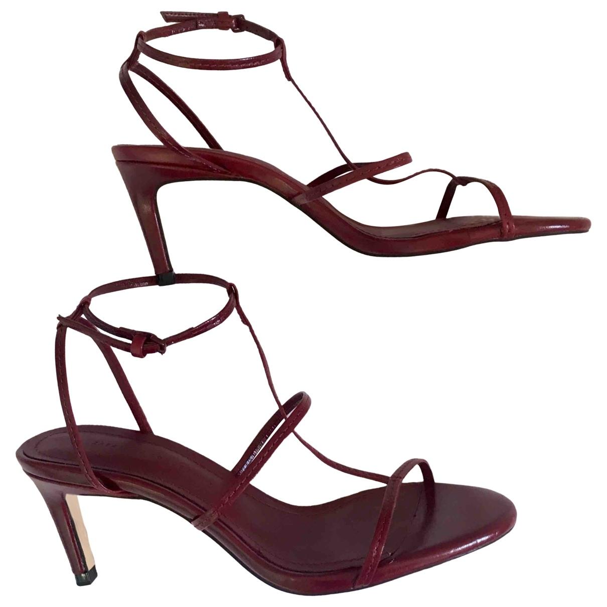 Zara N Burgundy Leather Sandals for Women 38 EU