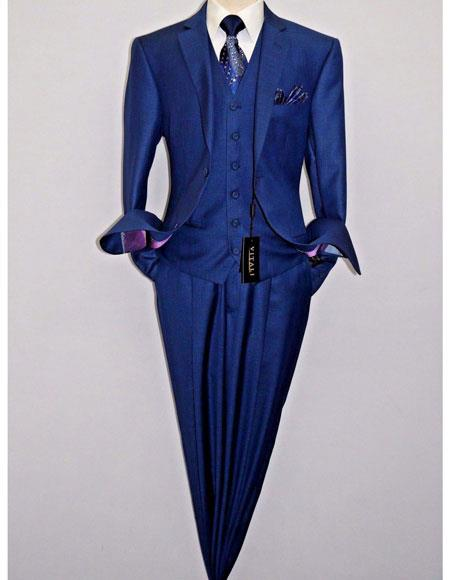 Mens Blue 2Button 1 Breasted Soft PolyRayon Shiny Sharkskin Vest Suits