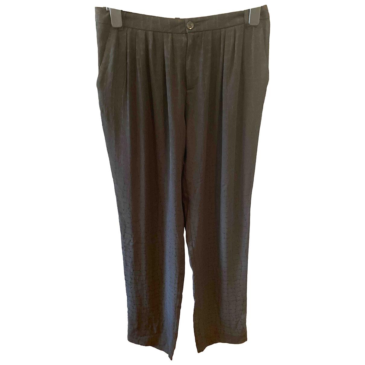 Gucci \N Black Silk Trousers for Women 42 IT