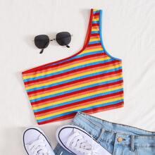 Top corto de rayas de arcoiris de un hombro