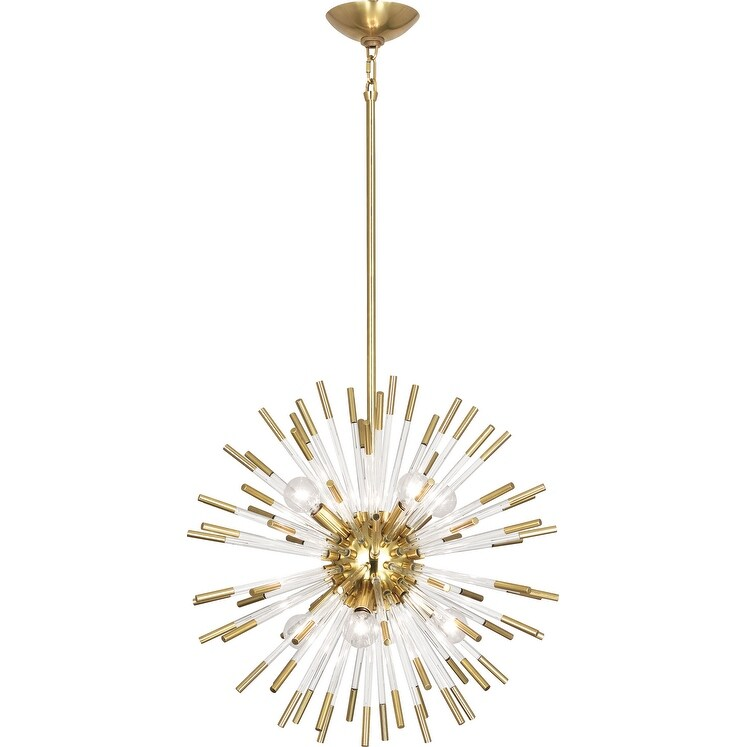 Robert Abbey 165 Eight Light Pendant Andromeda Modern Brass w/ Clear Acrylic Rods - One Size (One Size - Clear)