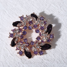 Rhinestone Decor Floral Brooch