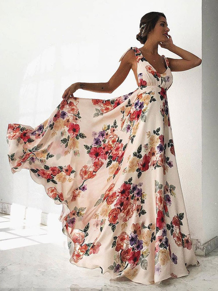 Milanoo Floral Maxi Dress White V Neck Backless Chiffon Boho Summer Dress
