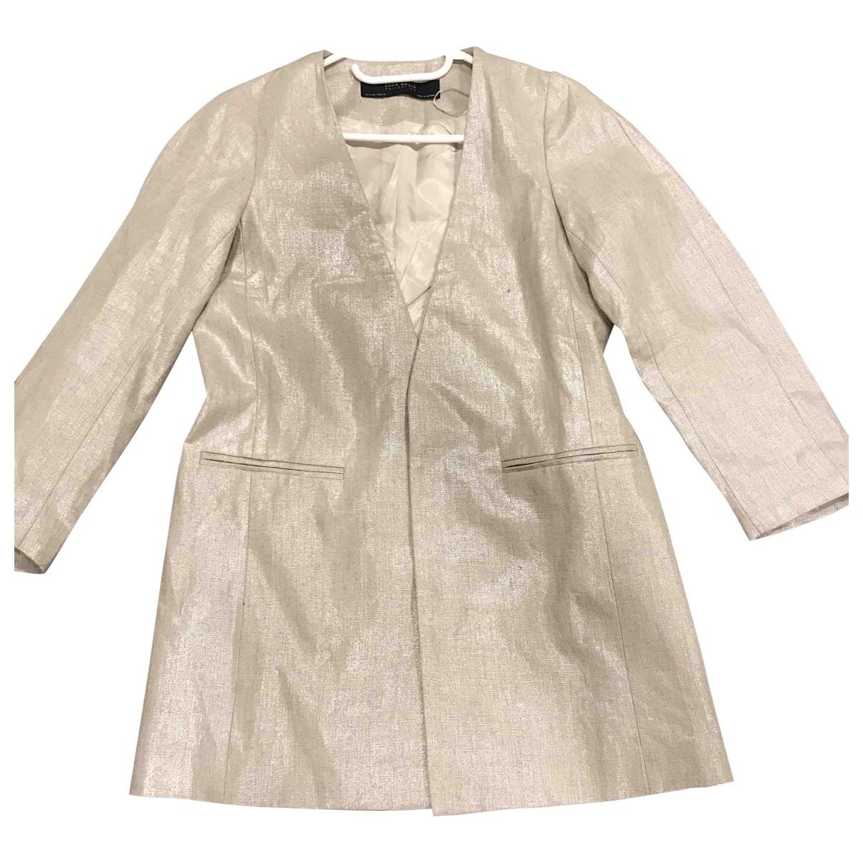 Zara - Veste   pour femme en lin - argente