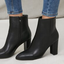 Faux Leather Zip-Up Ankle Booties