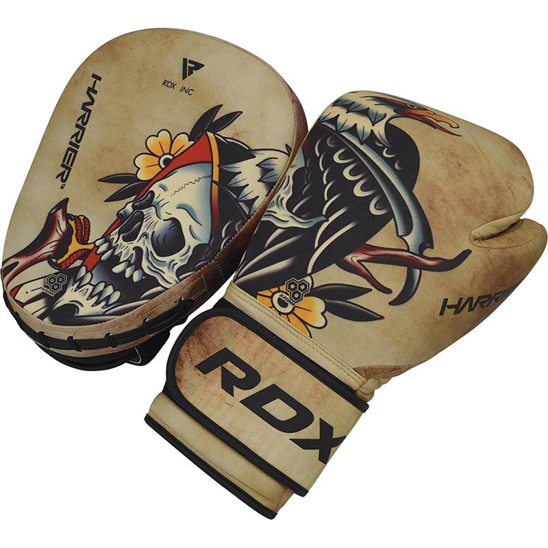 RDX T14 HARRIER Taetowieren Boxhandschuhe and Pratzen set  10oz Braun