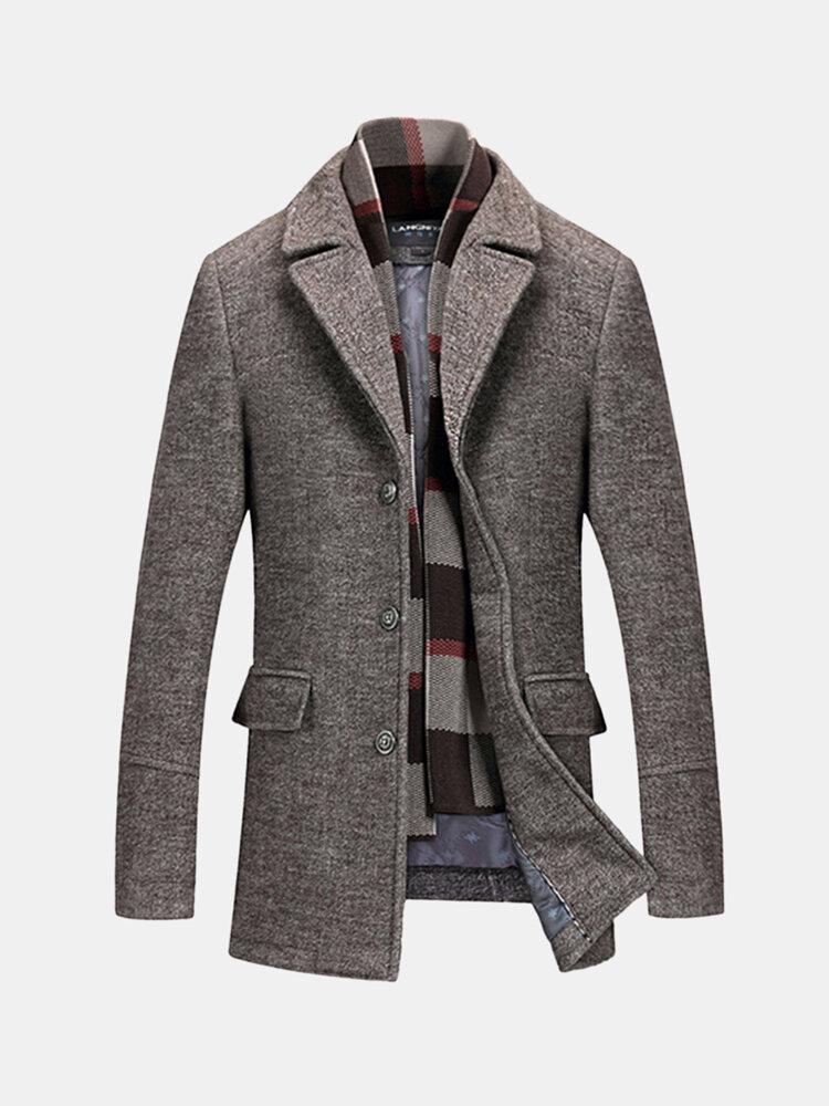 Winter Woolen Coat Stylish Detachable Scarf Warm Plaid Lining Jacket for Men