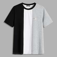 Camiseta de hombres de color combinado con diseño de parche