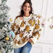 Allover Floral Pattern Drop Shoulder Sweater