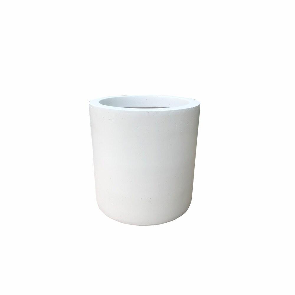 Kante Lightweight Cylinder Outdoor Planter, 9.8 Inch Diameter, White - 9.8