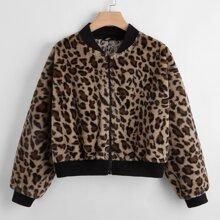 Plus Leopard Zipper Up Teddy Jacket
