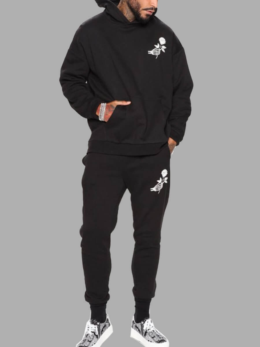 LW Lovely Casual Hooded Collar Print Black Men Two-piece Pants Set