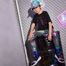 Boys Metallic Colorful Letter Graphic Top