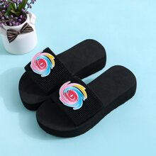 Girls Patch Detail Thick Sole Slides