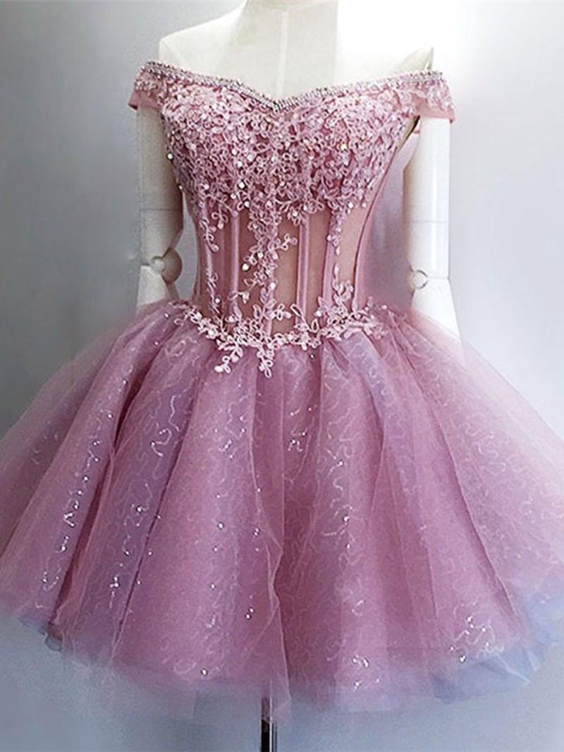 Ericdress Ball Gown Beading Short Sleeves Mini Homecoming Dress